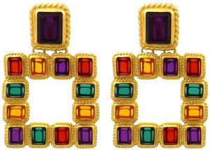 Gorgeous Colorful Crystal Gold Geometric-Shaped Dangle Earrings