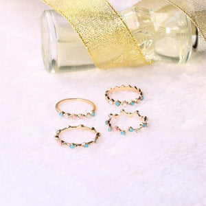 Dainty Gold Rainbow Bead Ring Set