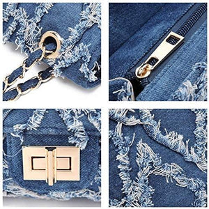 Jean Purse Denim Shoulder Bag with Intertwined Leather Gold-Tone Chain Straps