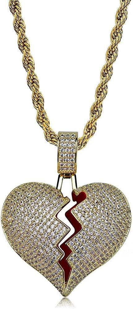 Broken Heart Pendant Necklace 14K Gold Plated  Gold Brokenheart - Shop Ja'Kai