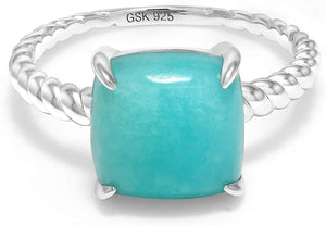 Sterling Silver Square Turquoise Ring - Shop Ja'Kai