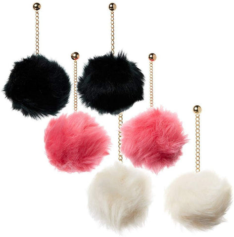 Black, White and Coral Pom Pom Earrings Set