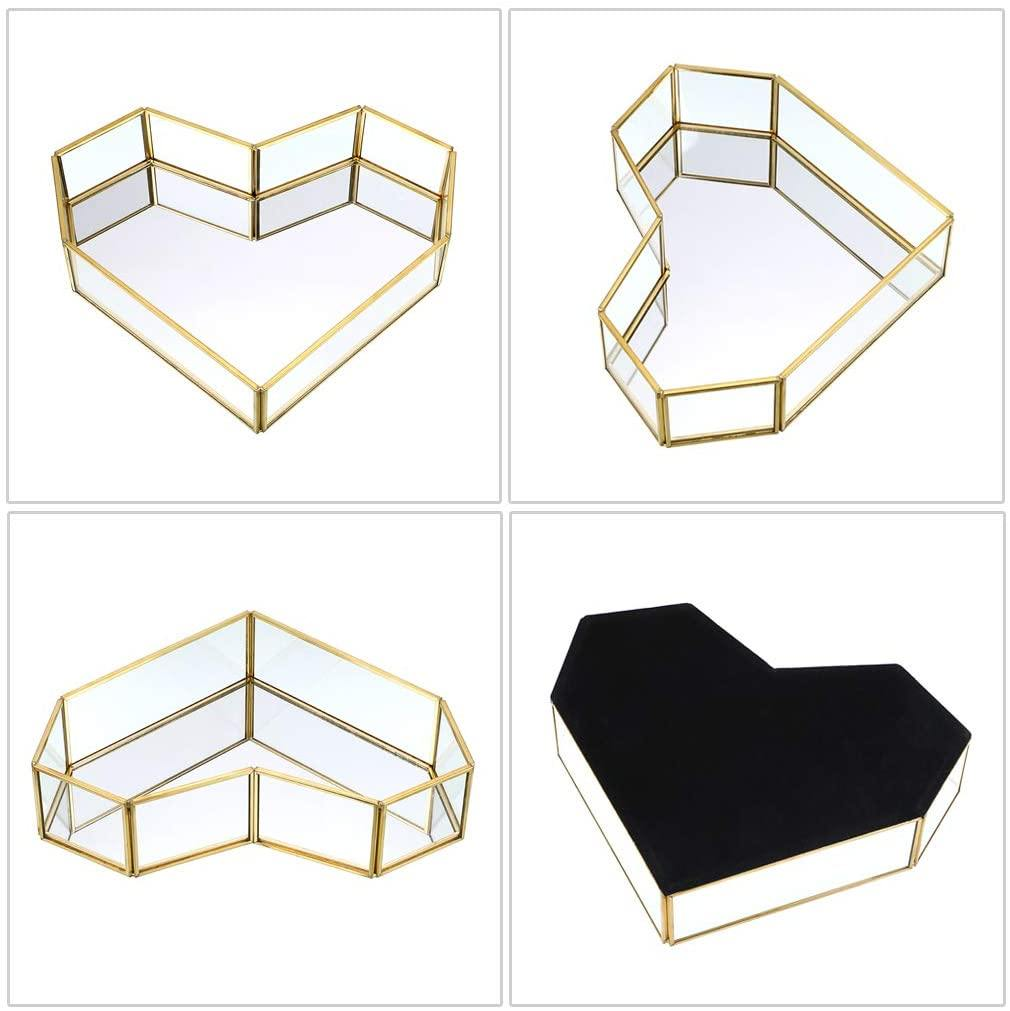 Heart Mirrored Glass Makeup Vanity Tray - Shop Ja'Kai
