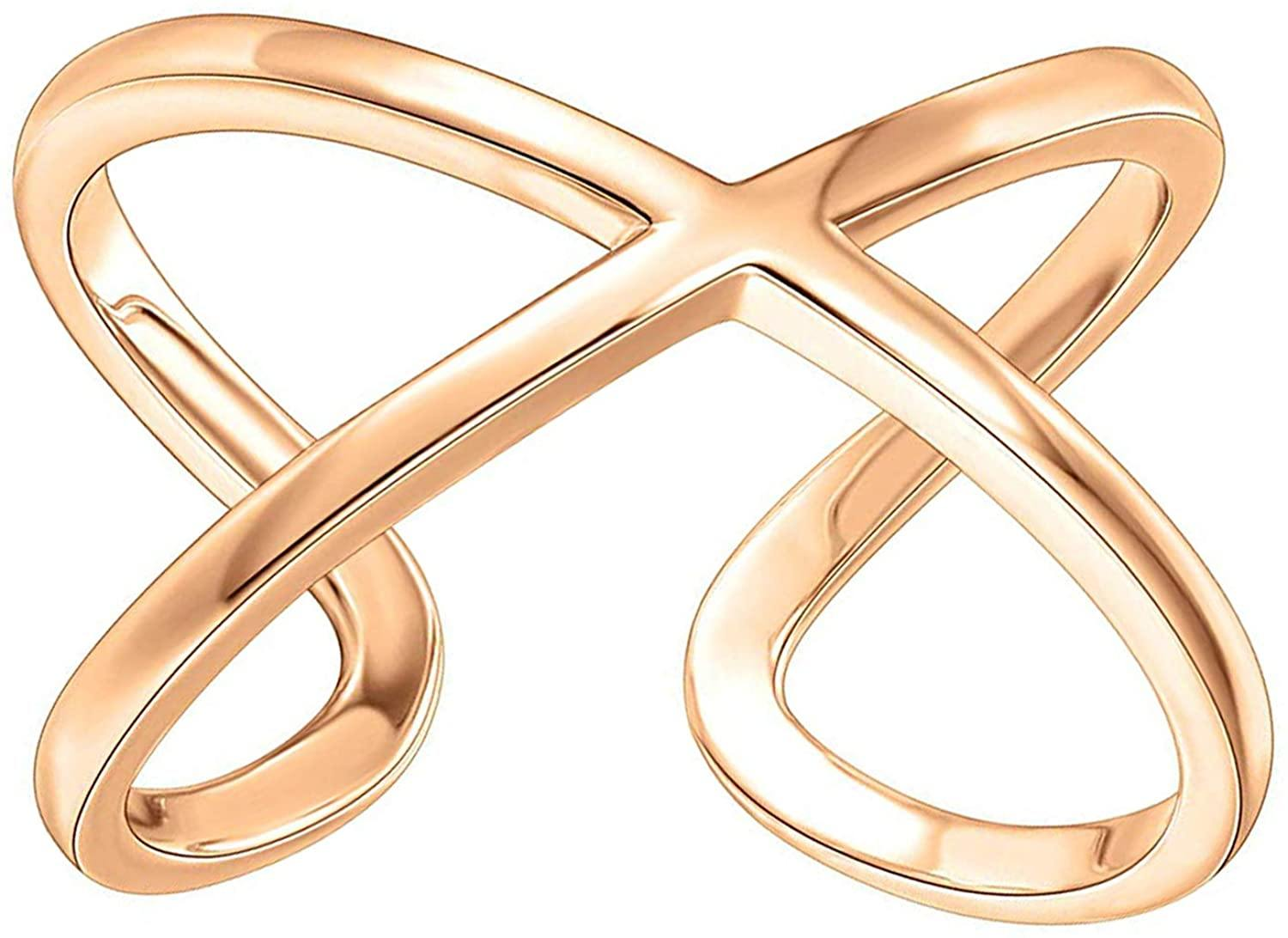 14K Gold Plated Crossover X Stackable Ring - Shop Ja'Kai