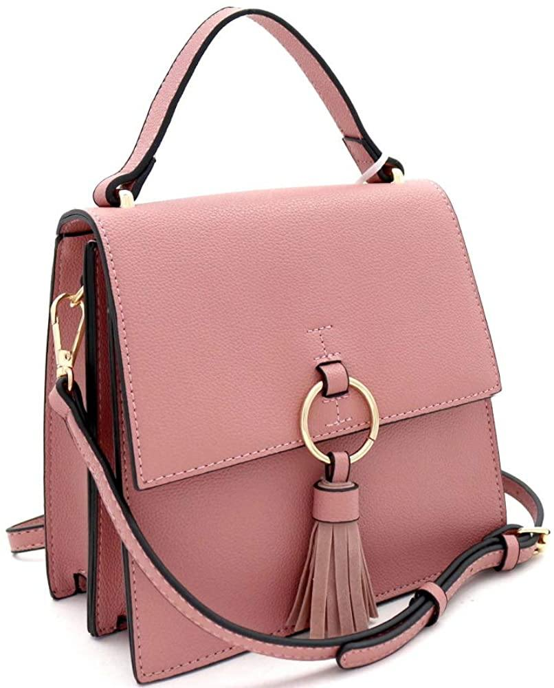 Tassel Top-Handle Structured Vegan Leather Medium Satchel Shoulder Bag Crossbody - Shop Ja'Kai