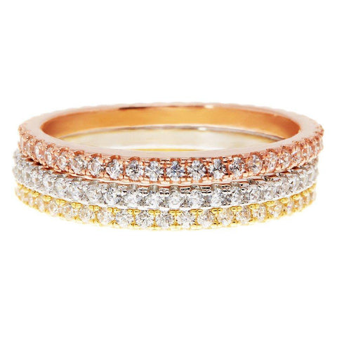 14K Gold Plated Sterling Silver CZ Simulated Diamond Stackable Ring