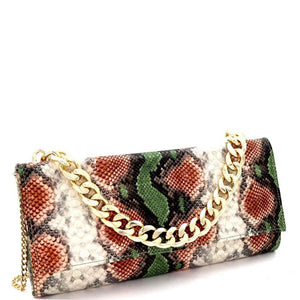 Chain Accent Multicolored Snake Print Long Party Clutch