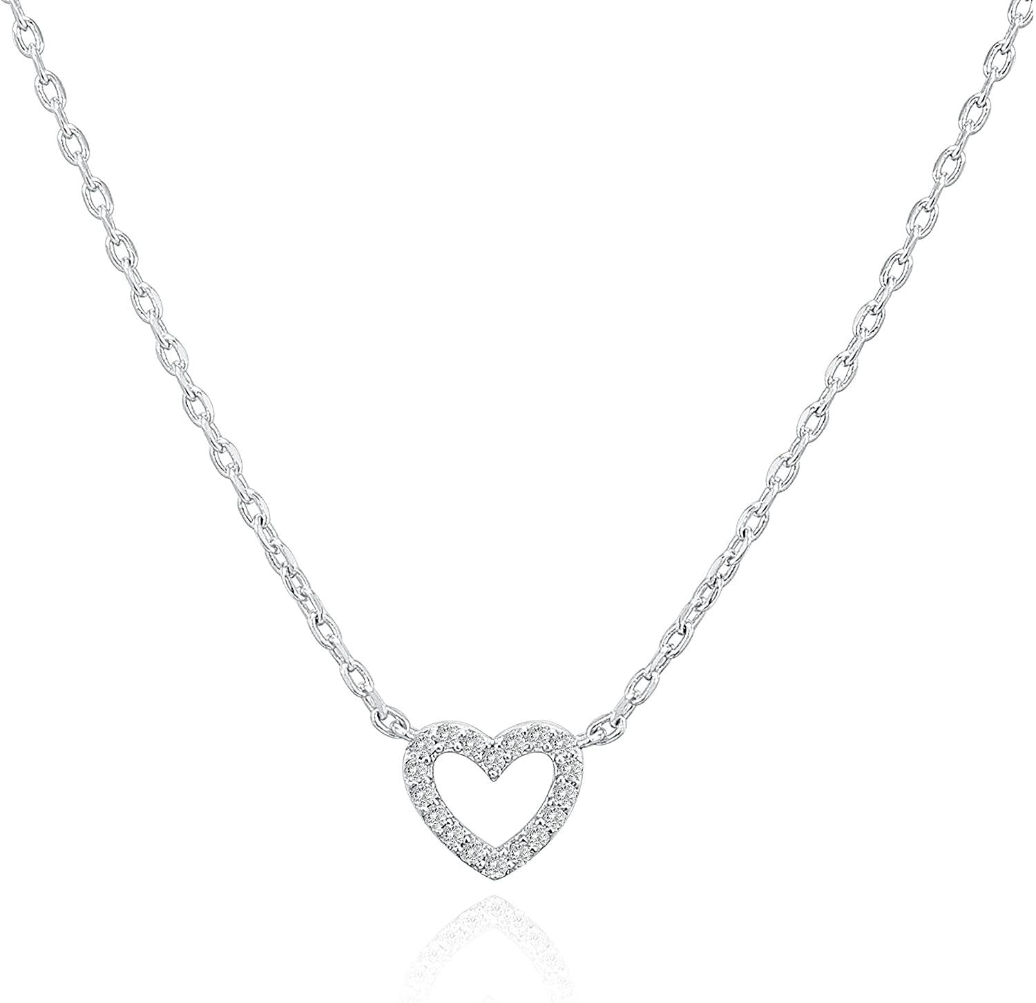 14K Gold Plated Cubic Zirconia Heart Necklace - Shop Ja'Kai