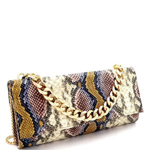 Chain Accent Multicolored Snake Print Long Party Clutch - Shop Ja'Kai