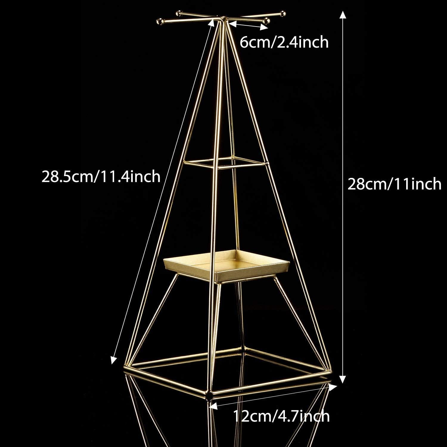 Gold Plated Pyramid A-Line Jewelry Rack Stand