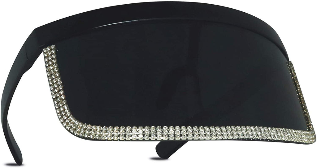 Oversize UV Face Shield with Rhinestones - Shop Ja'Kai