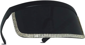 Oversize UV Face Shield with Rhinestones