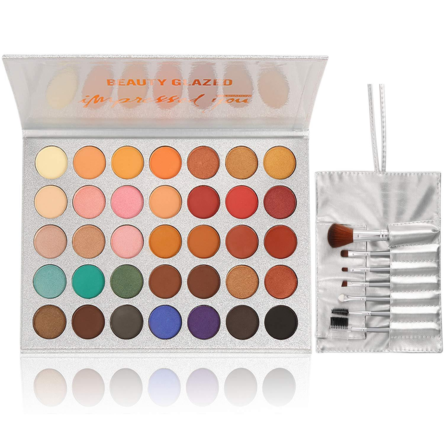 Beauty Glazed Eyeshadow Palette Professional Cosmetic Set (35 Colors + 7 PCS) - Shop Ja'Kai