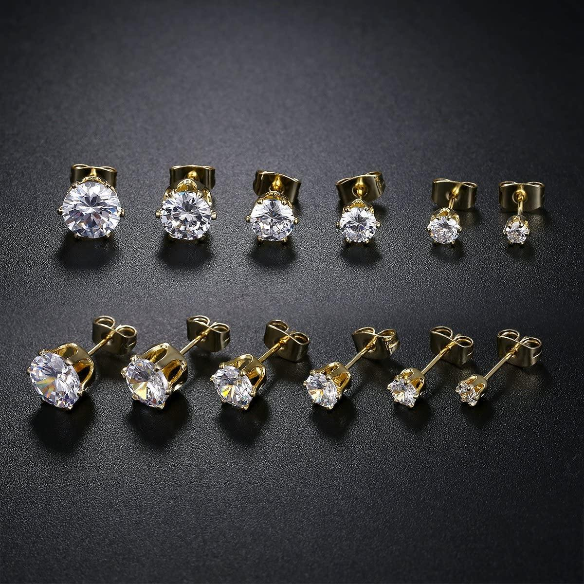 18K Yellow Gold Plated Round Cubic Zirconia Stud Earrings Pack of 6