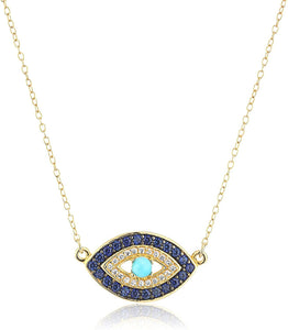 "18k Yellow Gold Plated Sterling Silver Evil Eye Necklace, 18"" - Shop Ja'Kai"