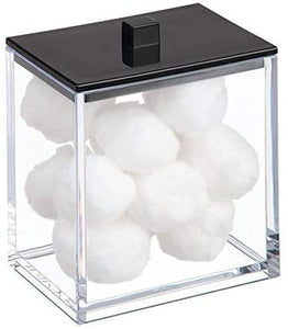 mDesign Modern Square Bathroom Vanity Countertop Storage Organizer Canister Jar for Cotton Swabs, Rounds, Balls, Makeup Sponges, Bath Salts - 2 Pack - Clear/Matte Black - Shop Ja'Kai