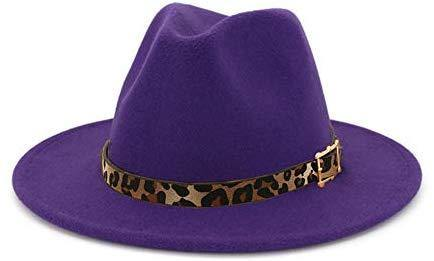 Wide Brim Felt Fedora with Leopard Belt Buckle