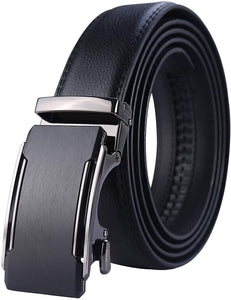 Leather Ratchet Dress Belt with Automatic Buckle