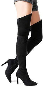 Suede Chunky Heel Over The Knee Boots - Shop Ja'Kai