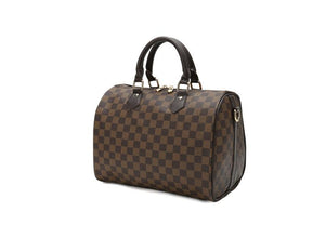 Brown Checker Round Handbag