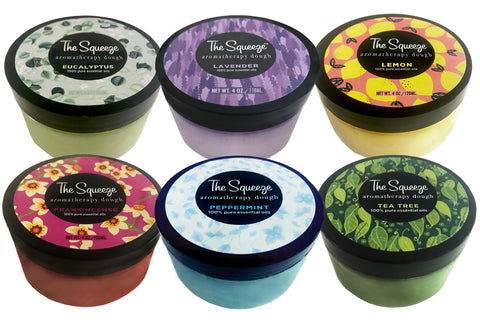 "The Squeeze —""The Six Scents"" Aromatherapy Dough Starter Gift Box 100% essential oils for self care, stress ball, hand therapy 4 oz. jars FREE SHIPPING"
