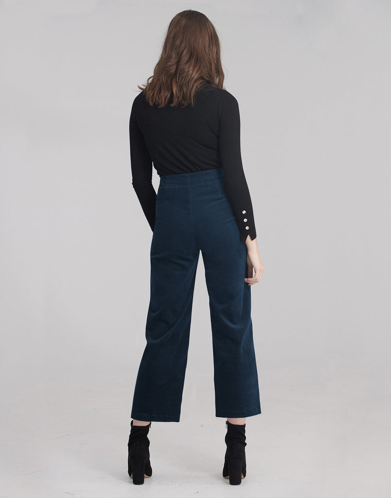 Lily Wide leg Corduroy Pants Deep Royal Yoga Jeans