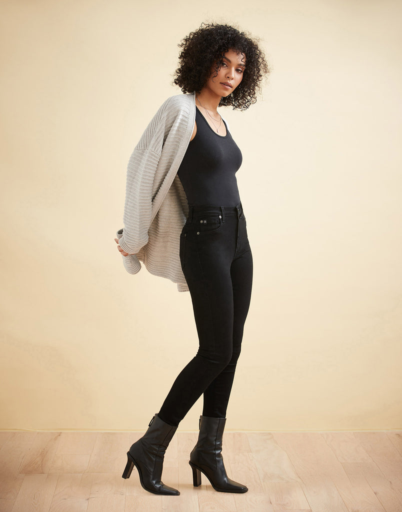 HIGH RISE / RACHEL SKINNY / BLACK / 30""