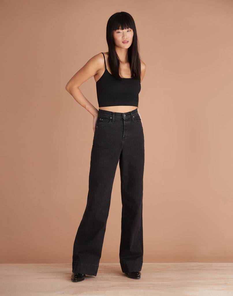 High Rise Lily Wide Jeans Black Charlotte Yoga Jeans