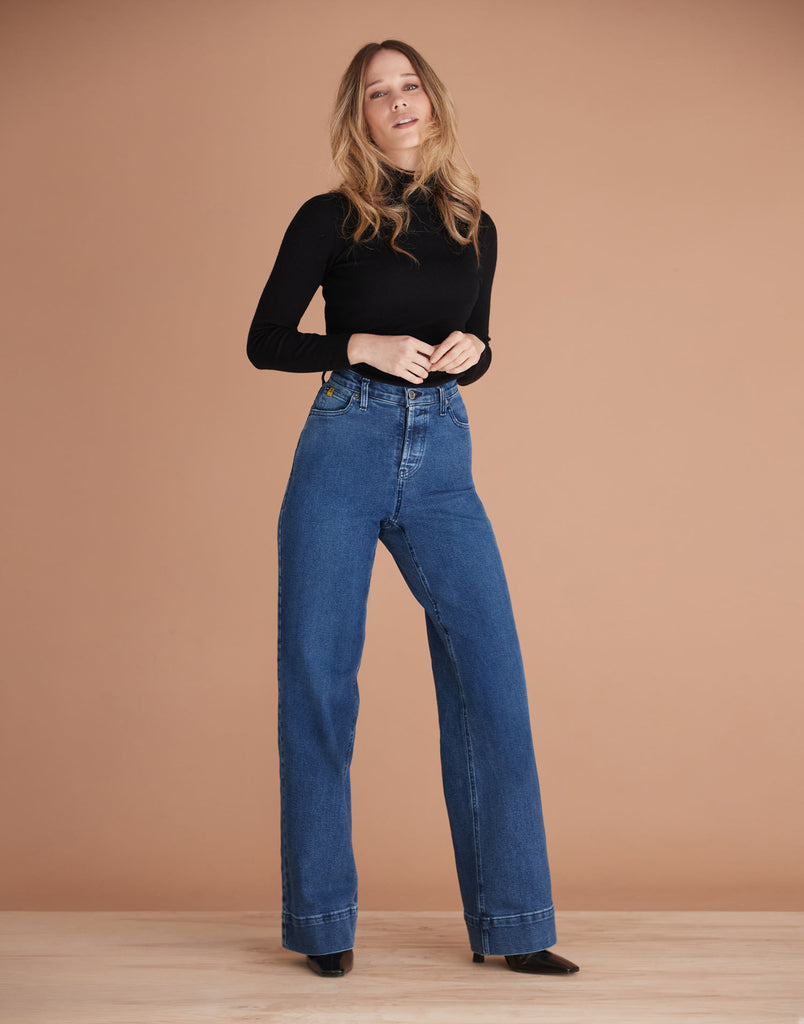 High Rise Lily Wide Jeans Blue Flare Yoga Jeans