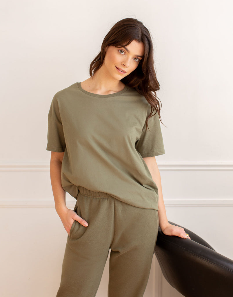 Green Khaki Oversized Boyfriend Tee Active Collection Yoga Jeans