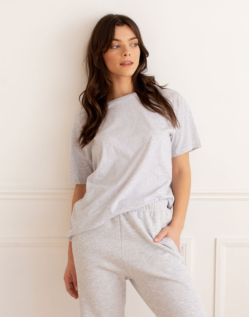 Grey Oversized Boyfriend Tee Active Collection Yoga Jeans