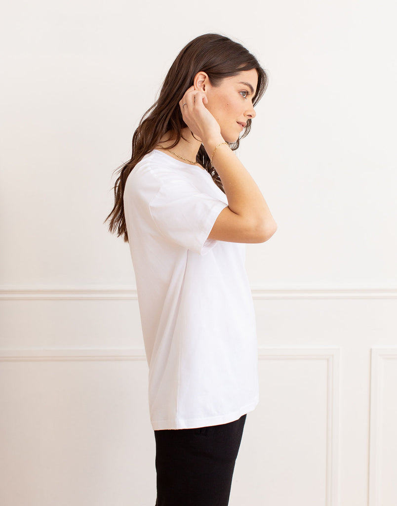 White Oversized Boyfriend Tee Active Collection Yoga Jeans