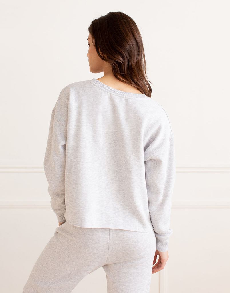CROP SWEATSHIRT / GREY MIX