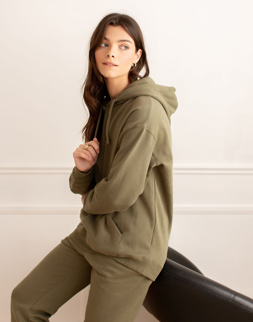 Green Khaki Oversized Boyfriend Hoodie Active Collection Yoga Jeans