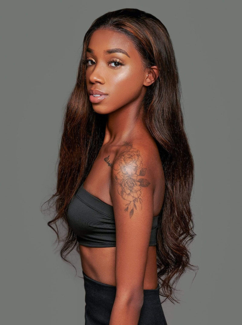 'Bottega' Human Hair Wig | Long Highlighted Brown Luxury Wig | Essence Luxe Couture Wigs