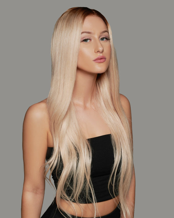 'Trophy Wife' Handmade Human Hair Wig | Pale Blonde Luxury Wig with Brown Roots | Essence Luxe Couture Wigs
