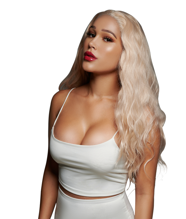 'Blessing in Disguise' Synthetic Wig | Platinum Blonde Lace Front Wig | Essence Luxe Couture Wigs