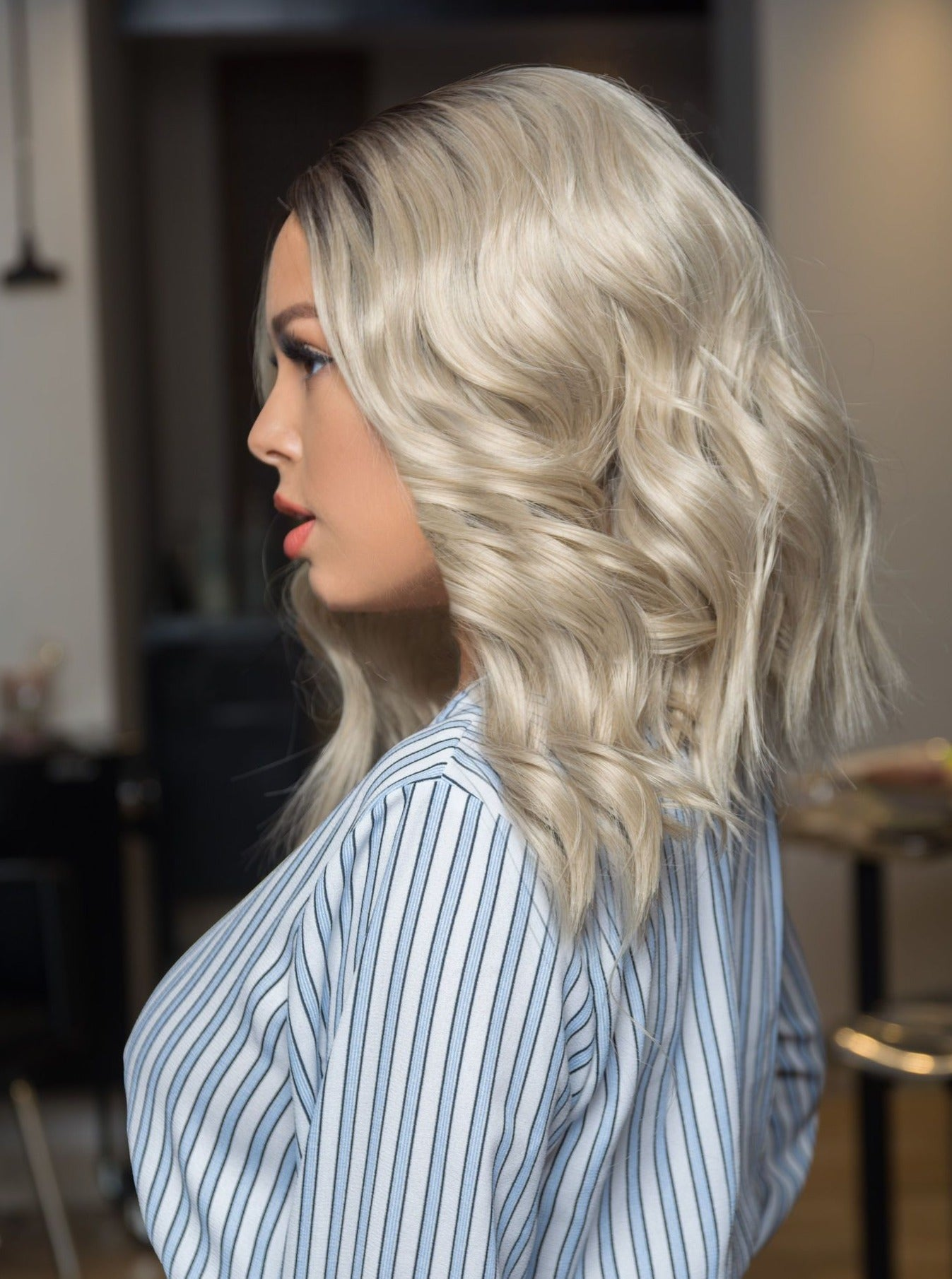 Realistic Ash Blonde Rooted Ombre Lace Front Wig | Proudly Canadian