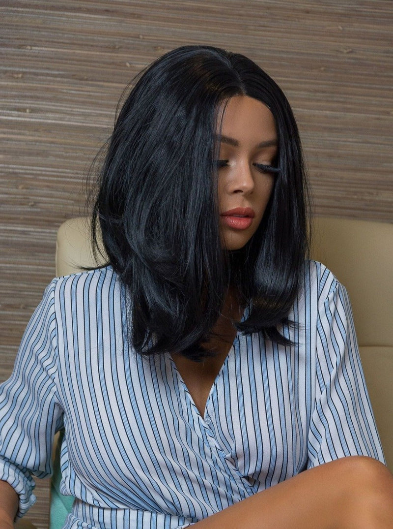 Natural Short Jet Black Lace Front Synthetic Wig | Essence Luxe Couture Wigs