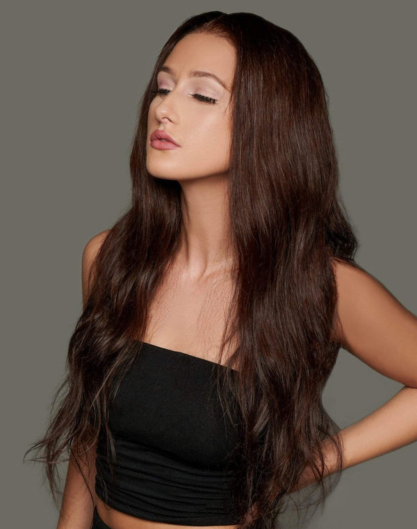 'Bontoni' Human Hair Wig | Long Brown Luxury Lace Wig | Essence Luxe Couture Wigs