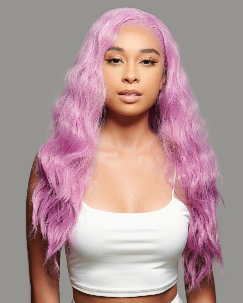 'Femme Fatale' Synthetic Wig | Light Magenta Pink Lace Front Wig | Essence Luxe Couture Wigs
