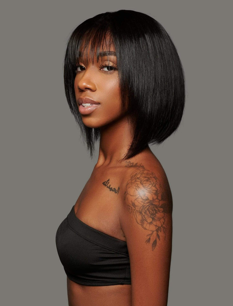 'Moschino' Human Hair Wig | Short Black Wig with Bangs | Essence Luxe Wigs