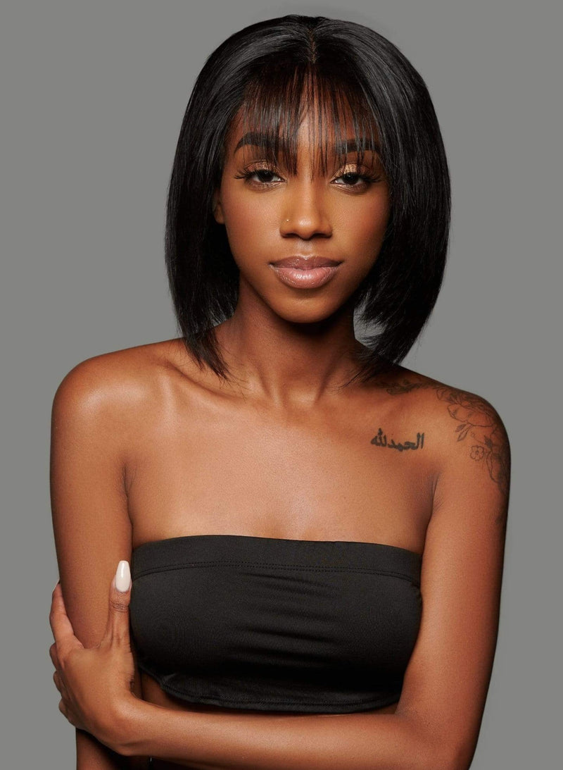 'Moschino' Human Hair Wig | Short Black Luxury Wig with Bangs | Essence Luxe Couture Wigs