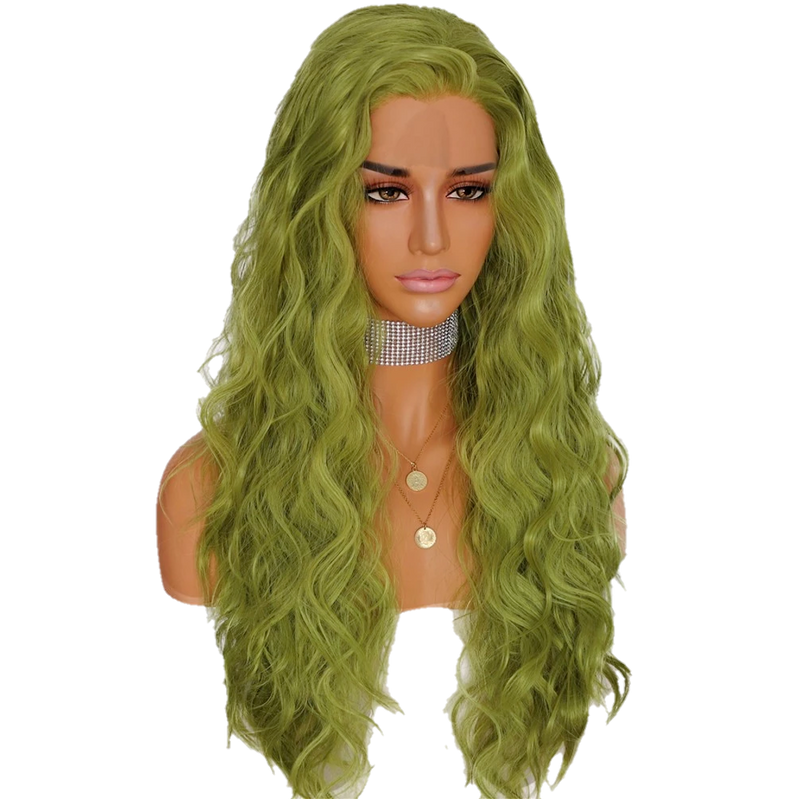 Buy RIBEIRO Synthetic Green Lace Front Wig | Luxury Wigs | Essence Luxe Couture