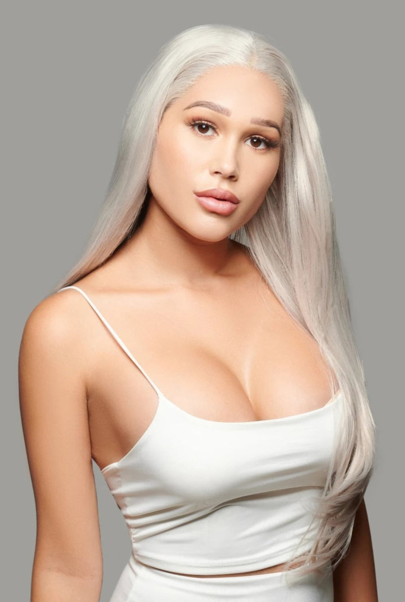 'Speak Volumes' Synthetic Lace Front Wig | Platinum Ash Blonde Wig | Essence Luxe Couture Wigs