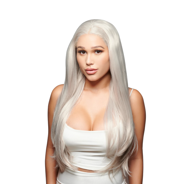'Speak Volumes' Synthetic Wig | Platinum Ash Blonde Wig | Essence Luxe Couture Wigs