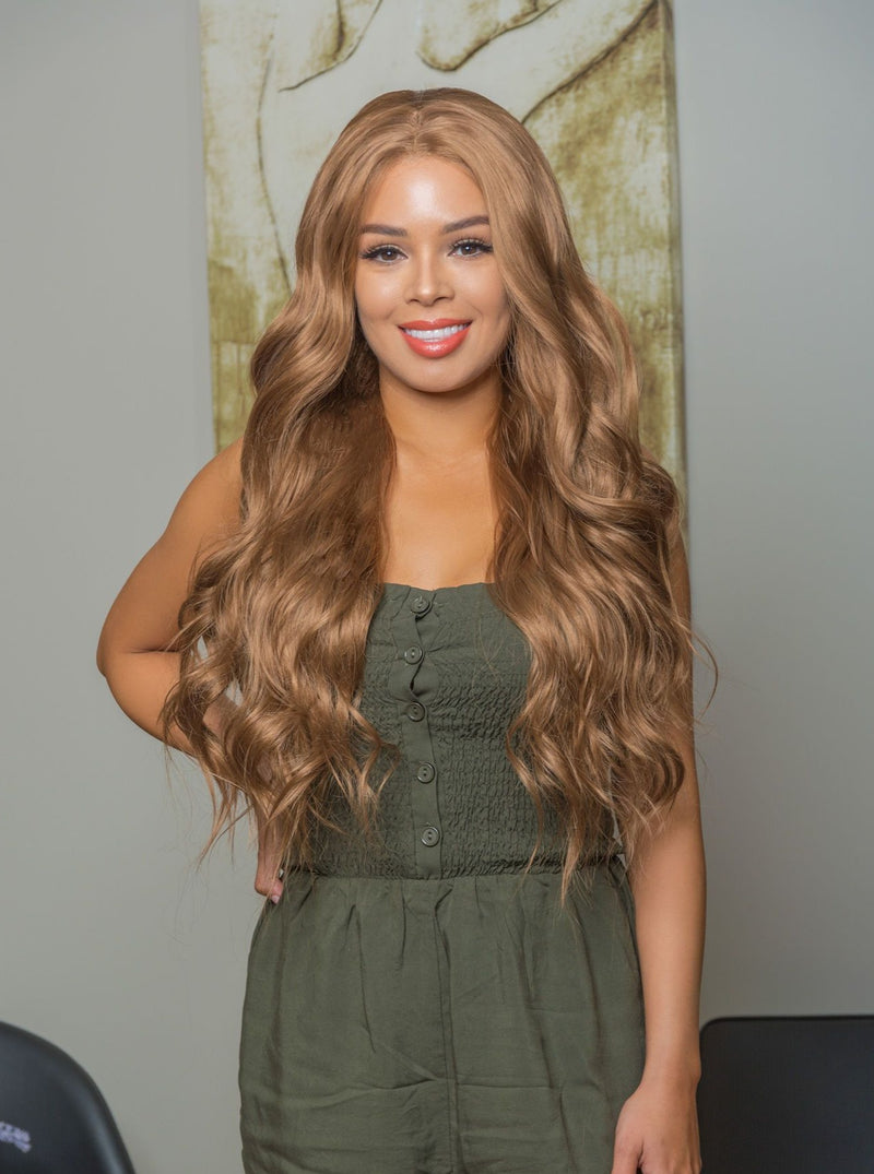 Natural Long Dark Blonde Lace Front Synthetic Wig | Essence Luxe Couture Wigs