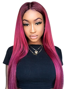 Model wearing Long Red Wig | Essence Luxe Couture