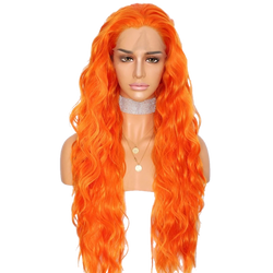 Buy CASSIN Long Orange Synthetic Wig | Luxury Wigs | Essence Couture