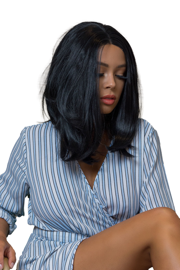 Short Jet Black Lace Front Synthetic Wig | Essence Luxe Couture Wigs